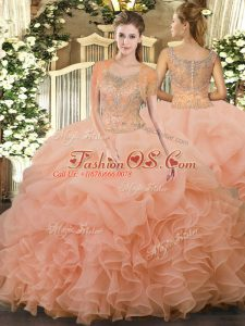 Enchanting Sleeveless Beading and Ruffled Layers Clasp Handle 15 Quinceanera Dress