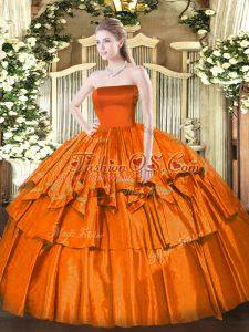 Orange Red Organza Zipper Sweet 16 Dresses Sleeveless Floor Length Ruffled Layers