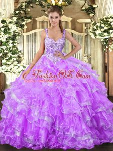 Sophisticated Floor Length Ball Gowns Sleeveless Lilac Quince Ball Gowns Lace Up