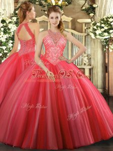 Top Selling Floor Length Ball Gowns Sleeveless Coral Red Sweet 16 Dresses Lace Up