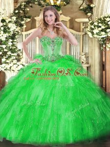 Tulle Sweetheart Sleeveless Lace Up Beading and Ruffles 15th Birthday Dress in Green