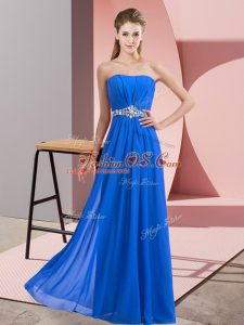 Glorious Sleeveless Floor Length Beading Lace Up Party Dress Wholesale with Blue