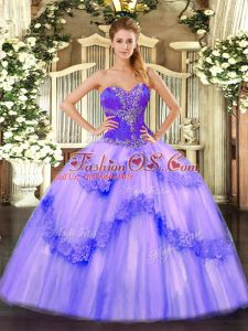 Enchanting Lavender Sleeveless Tulle Lace Up Vestidos de Quinceanera for Sweet 16 and Quinceanera