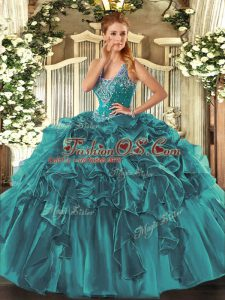 Graceful Floor Length Teal Sweet 16 Dresses Organza Sleeveless Beading and Ruffles
