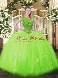 Sleeveless Tulle Floor Length Zipper Sweet 16 Quinceanera Dress in with Beading