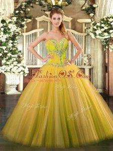 Cute Sweetheart Sleeveless Lace Up 15th Birthday Dress Gold Tulle