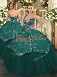 Delicate Taffeta and Tulle Sleeveless Floor Length Quinceanera Gown and Beading and Embroidery