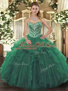 Luxury Green Ball Gowns Beading and Ruffles Sweet 16 Dresses Lace Up Tulle Sleeveless Floor Length