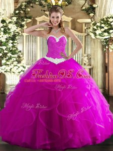 Fine Fuchsia Quince Ball Gowns Military Ball and Sweet 16 and Quinceanera with Appliques and Ruffles Sweetheart Sleeveless Lace Up