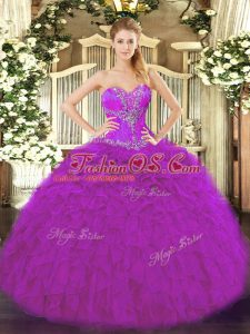 Fuchsia Organza Lace Up Quinceanera Gowns Sleeveless Floor Length Beading and Ruffles