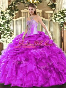 Organza Sweetheart Sleeveless Lace Up Beading and Ruffles and Pick Ups Vestidos de Quinceanera in Fuchsia