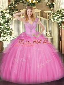Dramatic Rose Pink Ball Gowns Beading Quinceanera Dress Lace Up Tulle Sleeveless Floor Length