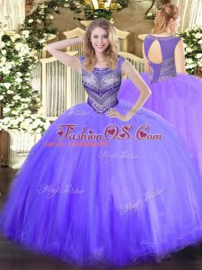 Beading Quinceanera Dresses Lavender Lace Up Sleeveless Floor Length