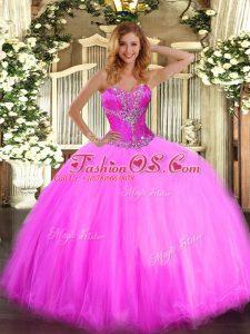 Suitable Tulle Sleeveless Floor Length Vestidos de Quinceanera and Beading