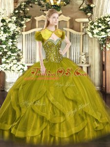 Custom Fit Olive Green Ball Gowns Sweetheart Sleeveless Tulle Floor Length Lace Up Beading and Ruffles Ball Gown Prom Dress