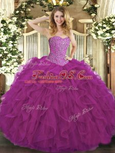 Captivating Ball Gowns 15th Birthday Dress Fuchsia Sweetheart Tulle Sleeveless Floor Length Lace Up