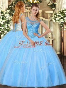 Floor Length Baby Blue Sweet 16 Dresses Tulle Sleeveless Beading