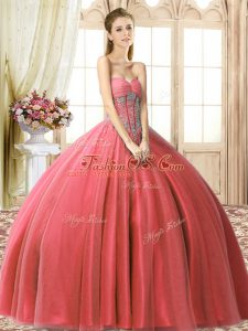 Dazzling Coral Red Ball Gowns Tulle Sweetheart Sleeveless Beading Floor Length Lace Up Quinceanera Gowns