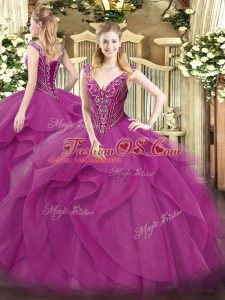 Dynamic Ball Gowns 15th Birthday Dress Lilac V-neck Tulle Sleeveless Floor Length Lace Up