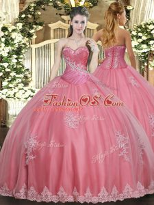 Traditional Watermelon Red Sleeveless Tulle Lace Up Quinceanera Dress for Military Ball and Sweet 16 and Quinceanera