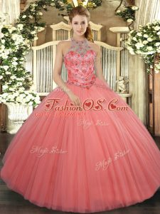 Enchanting Watermelon Red Sleeveless Floor Length Beading and Embroidery Lace Up Ball Gown Prom Dress