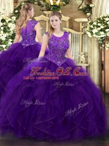 Colorful Purple Ball Gowns Beading and Ruffles 15 Quinceanera Dress Zipper Organza Sleeveless Floor Length