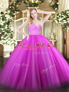 Sleeveless Floor Length Beading and Lace Zipper Vestidos de Quinceanera with Fuchsia