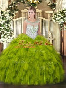 Shining Olive Green Scoop Zipper Beading and Ruffles Sweet 16 Dress Sleeveless