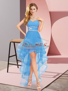 Fine High Low A-line Sleeveless Baby Blue Dress for Prom Lace Up