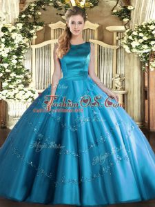 Fine Aqua Blue Ball Gowns Tulle Scoop Sleeveless Appliques Floor Length Lace Up Sweet 16 Quinceanera Dress