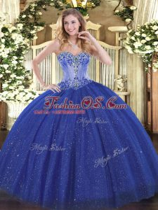 Royal Blue Ball Gowns Sweetheart Sleeveless Sequined Lace Up Beading 15 Quinceanera Dress