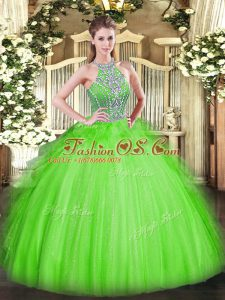 High Quality Halter Top Neckline Beading and Ruffles Quinceanera Dresses Sleeveless Lace Up