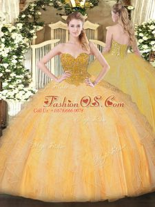High Quality Floor Length Lace Up Sweet 16 Dresses Orange for Military Ball and Sweet 16 and Quinceanera with Beading and Ruffles