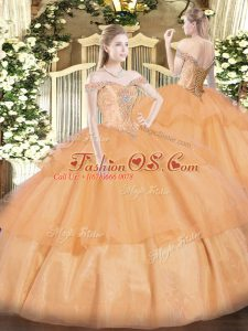 Off The Shoulder Sleeveless Vestidos de Quinceanera Floor Length Beading and Ruffled Layers Orange Organza