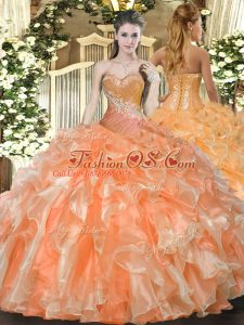 Fashion Floor Length Lace Up Quinceanera Gowns Orange Red for Military Ball and Sweet 16 and Quinceanera with Beading and Ruffles