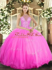 Custom Fit Rose Pink Lace Up Quinceanera Gown Beading Sleeveless Floor Length