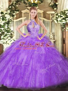 Sleeveless Floor Length Beading Lace Up Quinceanera Gowns with Lavender