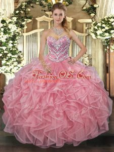 Sweetheart Sleeveless Tulle Quinceanera Dress Beading Lace Up