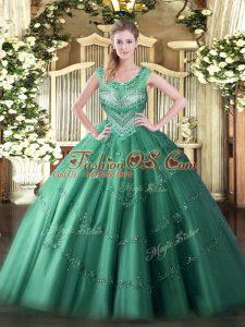 Dramatic Floor Length Dark Green Quinceanera Dress Scoop Sleeveless Lace Up