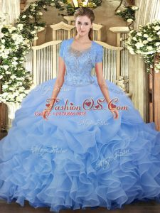 Scoop Sleeveless Tulle Quinceanera Dress Beading and Ruffled Layers Clasp Handle