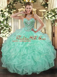 Apple Green Tulle Lace Up Ball Gown Prom Dress Sleeveless Floor Length Beading and Ruffles