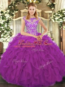 Fitting Eggplant Purple 15th Birthday Dress Sweet 16 and Quinceanera with Beading and Ruffles Scoop Cap Sleeves Lace Up