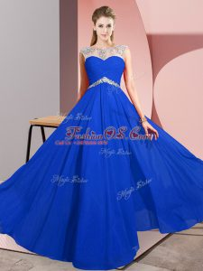 Floor Length Clasp Handle Dress for Prom Royal Blue for Prom and Party with Beading