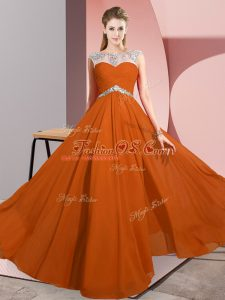Luxury Floor Length Clasp Handle Prom Dresses Rust Red for Prom and Party with Beading