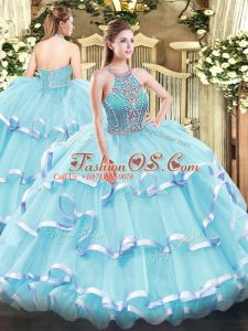 Elegant Sleeveless Floor Length Beading and Ruffled Layers Lace Up Quinceanera Dress with Aqua Blue