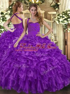 Dramatic Purple Halter Top Neckline Ruffles Sweet 16 Dresses Sleeveless Lace Up