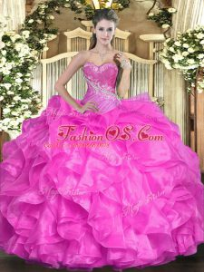 Edgy Sleeveless Organza Floor Length Lace Up Ball Gown Prom Dress in Fuchsia with Beading and Ruffles
