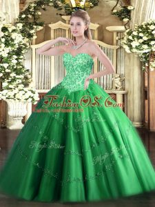 Shining Green Lace Up 15 Quinceanera Dress Appliques Sleeveless Floor Length