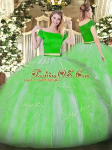 Inexpensive Tulle Short Sleeves Floor Length Sweet 16 Quinceanera Dress and Appliques and Ruffles