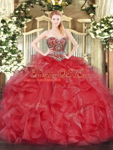 Coral Red Ball Gowns Beading Sweet 16 Dresses Lace Up Organza Sleeveless Floor Length